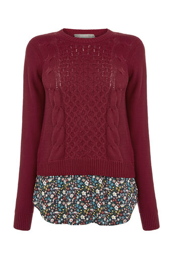 Oasis, FLORAL SHIRT TAILS SWEATER Mid Red 0