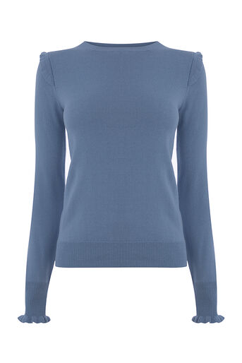 Oasis, FRILL SHOULDER & CUFF KNIT Mid Blue 0