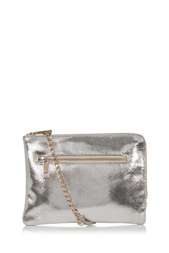 Oasis, LEATHER BONNIE CLUTCH BAG Silver 0