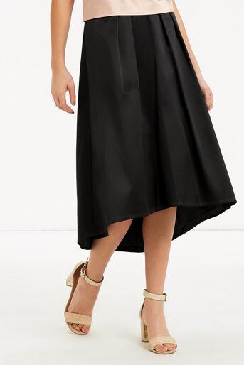 Oasis, Satin Dip Hem Skirt Black 1