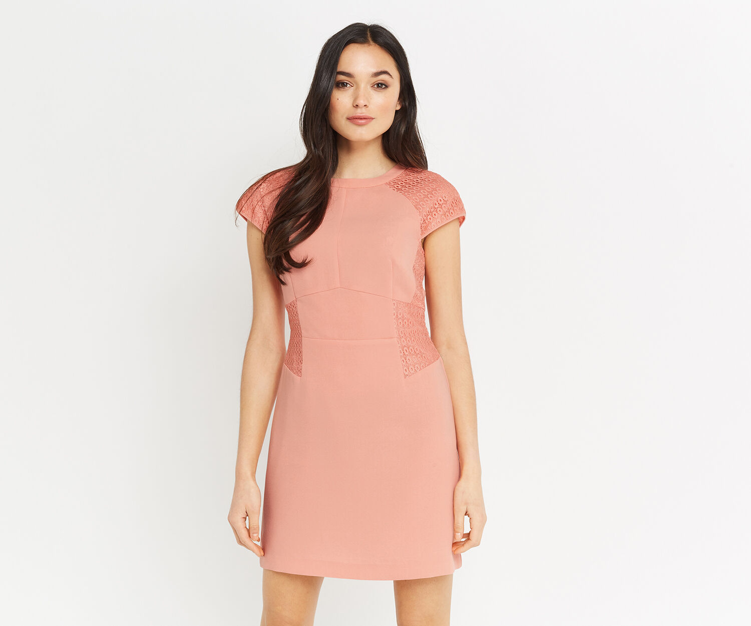 Oasis, LACE PANEL DRESS Mid Pink 1
