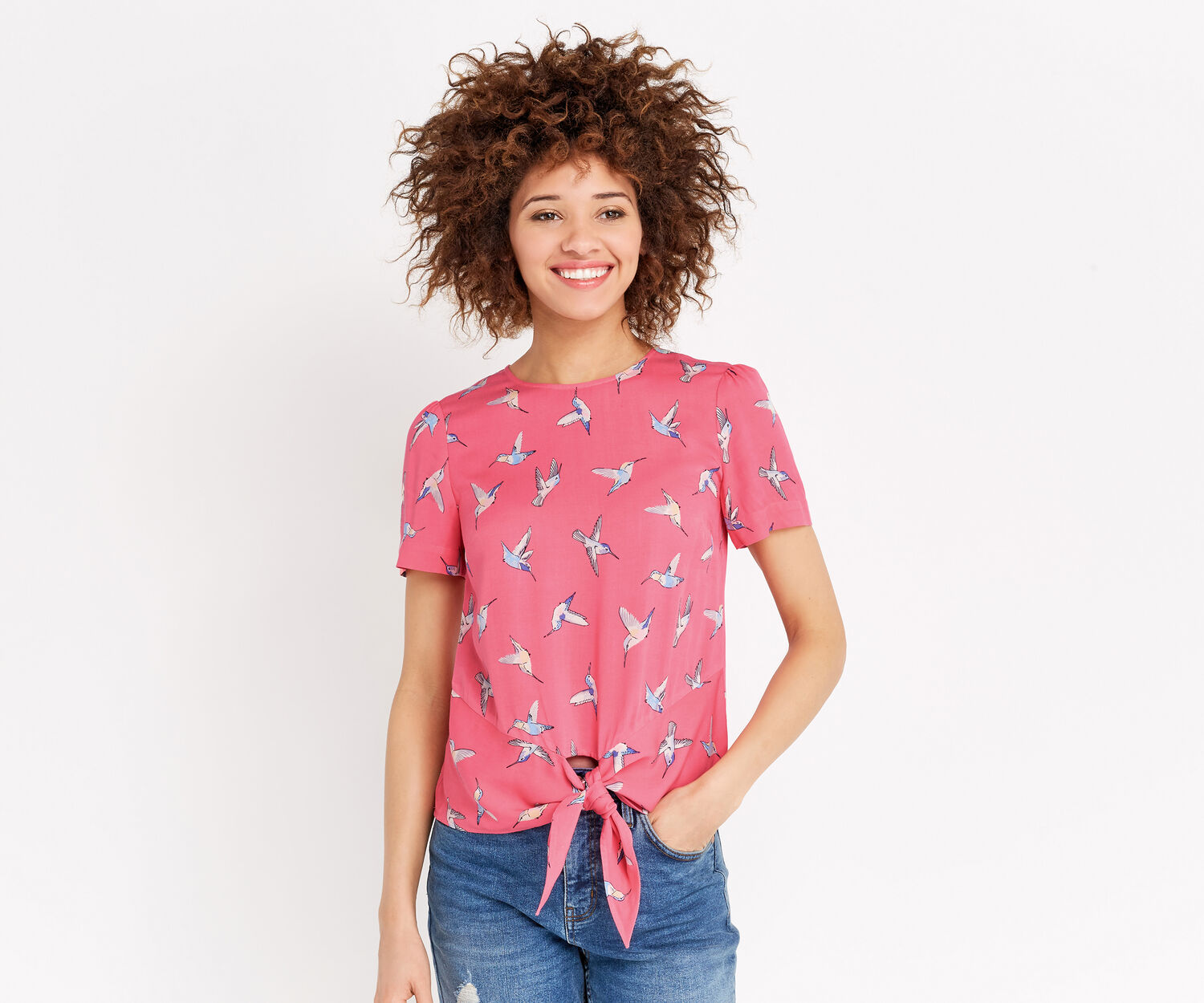 Oasis, HUMMING BIRD TIE FRONT TEE Multi 1