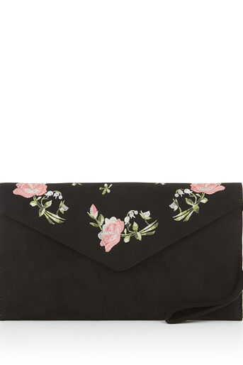 Oasis, ROSE EMBROIDERED CLUTCH Black 0
