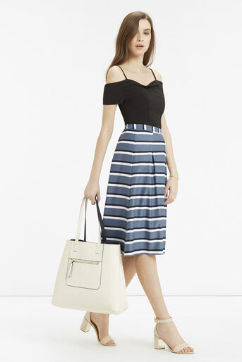 Oasis, Stripe Midi Skirt Multi Blue 2