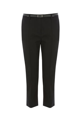Oasis, COMPACT COTTON CAPRI TROUSER Black 0