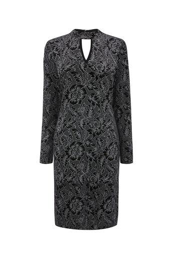 Oasis, LONG LACE GLITTER VELVET DRESS Black 0