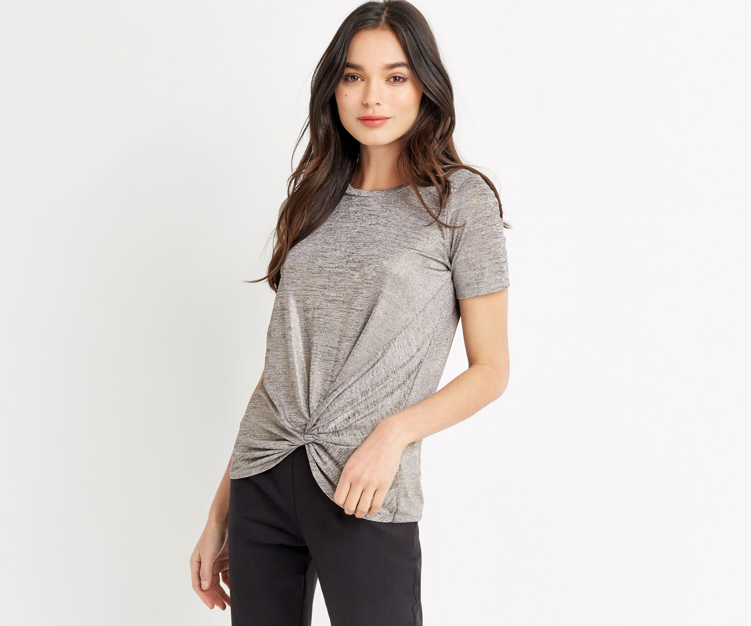 Oasis, FOIL KNOT TEE Pale Grey 1