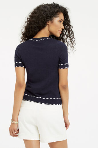 Oasis, Cute tipped SS knit Navy 3