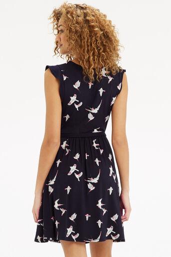 Oasis, Bird Print Skater Dress Navy 3