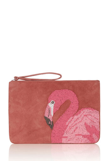 Oasis, FLAMINGO BEADED CLUTCH Bright Orange 0