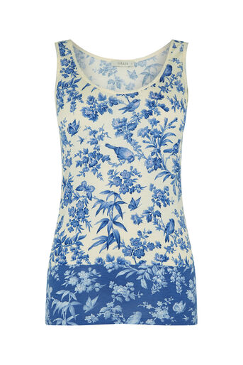 Oasis, Rosie Bird Patched Print Vest Light Blue 0