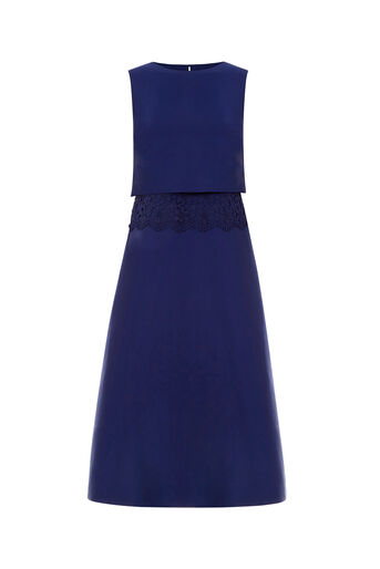 Oasis, 2 IN 1 LACE TRIM MIDI Navy 0