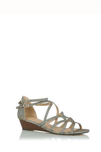 Oasis, Sparkle Wedge Sandals Multi Silver 0