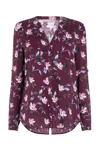 Oasis, PAINTED ROSE COLLAR SHIRT Burgundy 0