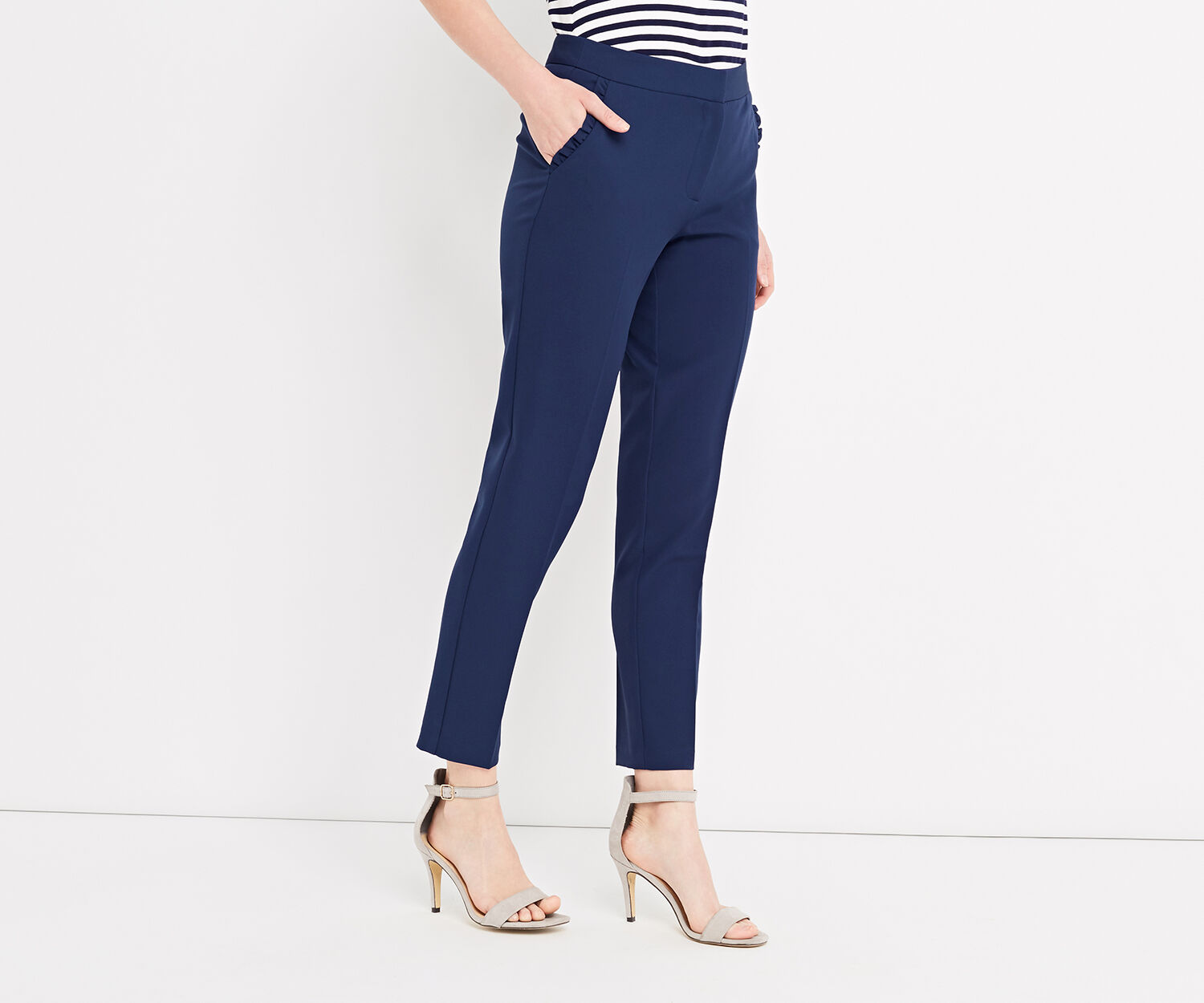 Oasis, FRILL POCKET SMART TROUSER Navy 1