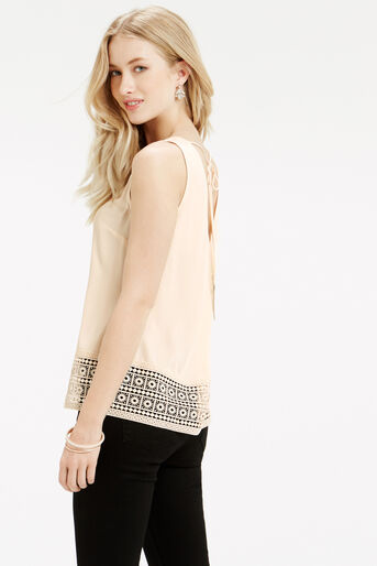 Oasis, Tassle Lace Trim Shell Top Off White 3