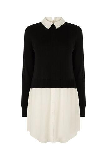 Oasis, Mono Shirt Tails Tunic Black and White 0