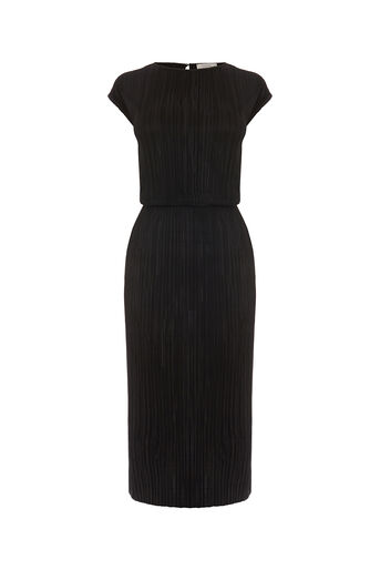 Oasis, PLISSE COLUMN DRESS Black 0