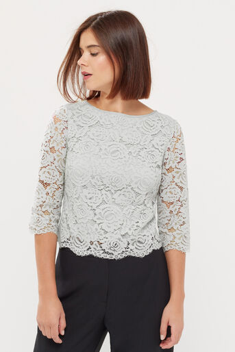 Oasis, LACE TOP Pale Grey 1