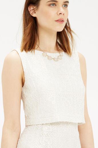 Oasis, Metallic Lace Shift Dress Off White 4
