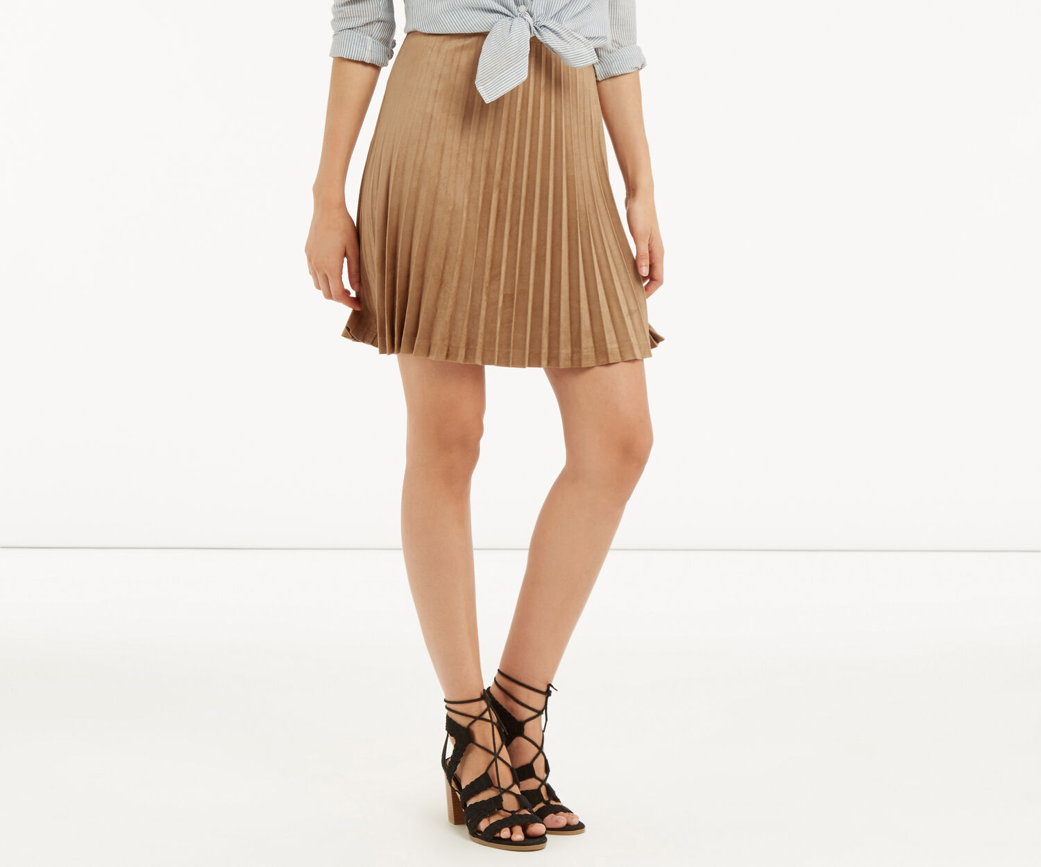 Oasis, PLEATED SUEDETTE SKIRT Tan 1