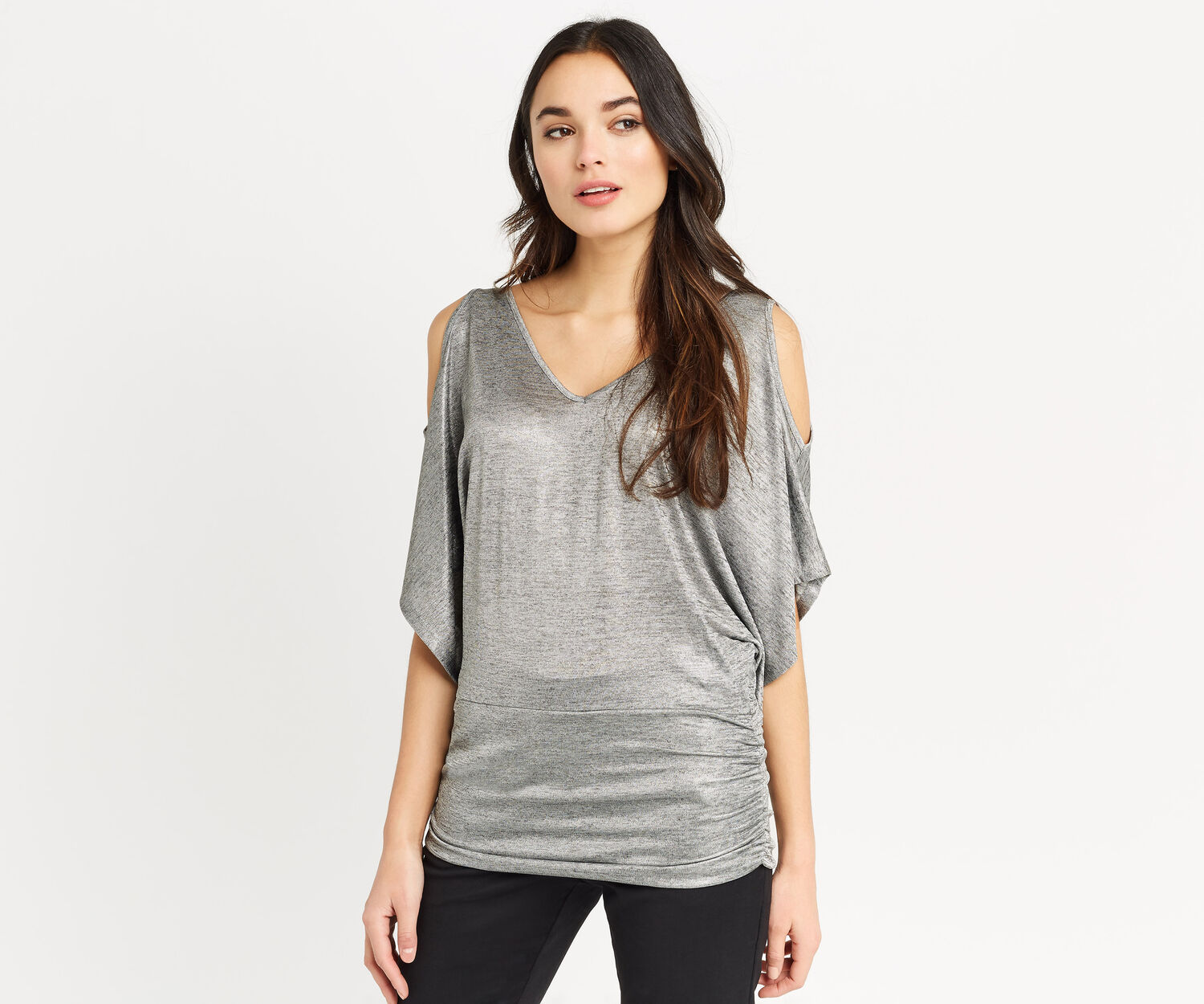 Oasis, COLD SHOULDER FOIL TOP Silver 1
