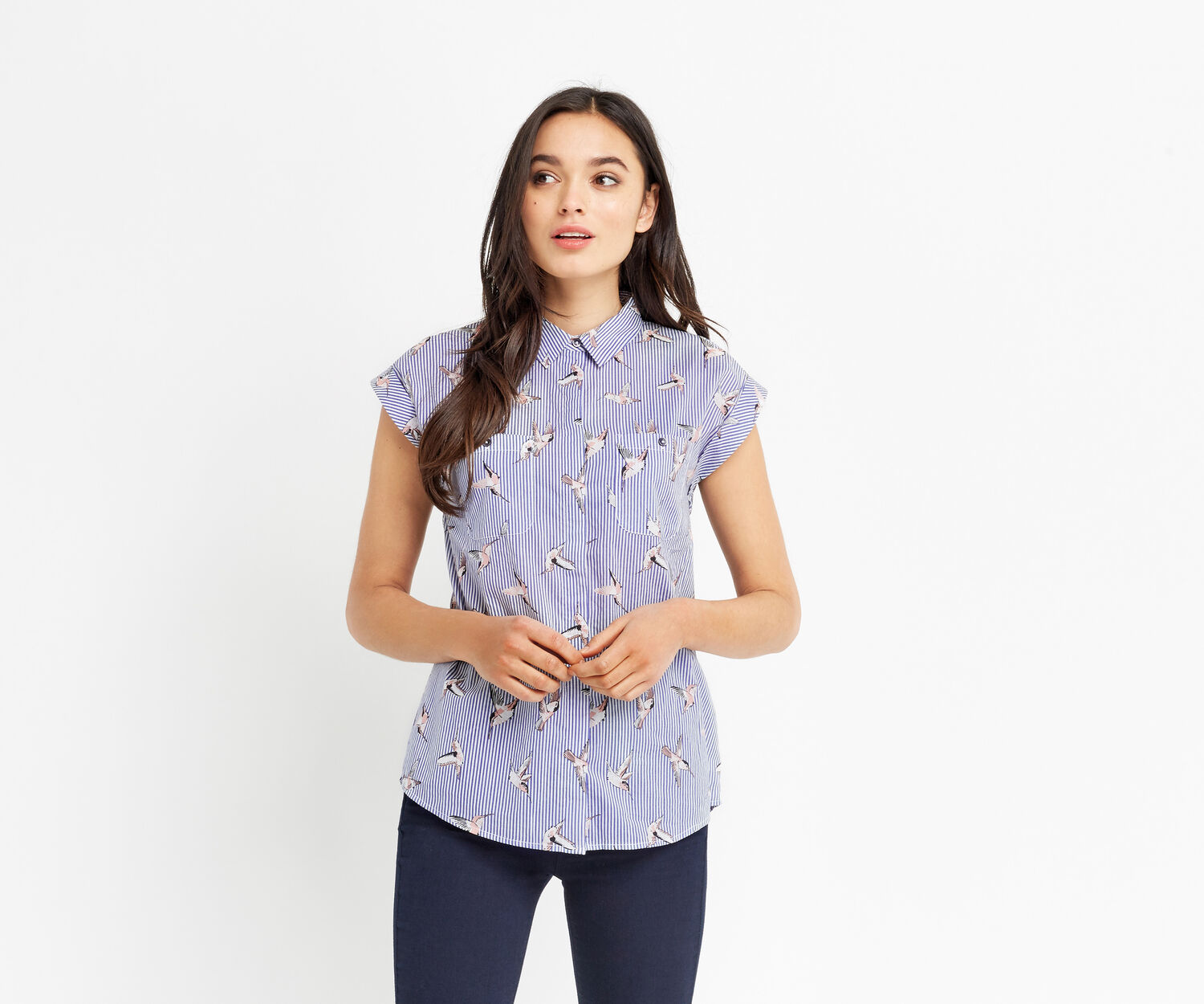 Oasis, STRIPE BIRD SHIRT Multi Blue 1