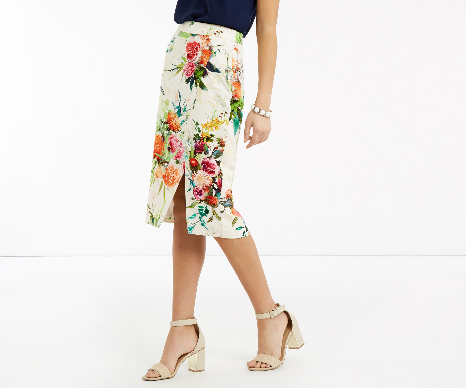 Oasis, Floral Pencil Skirt Multi Natural 1