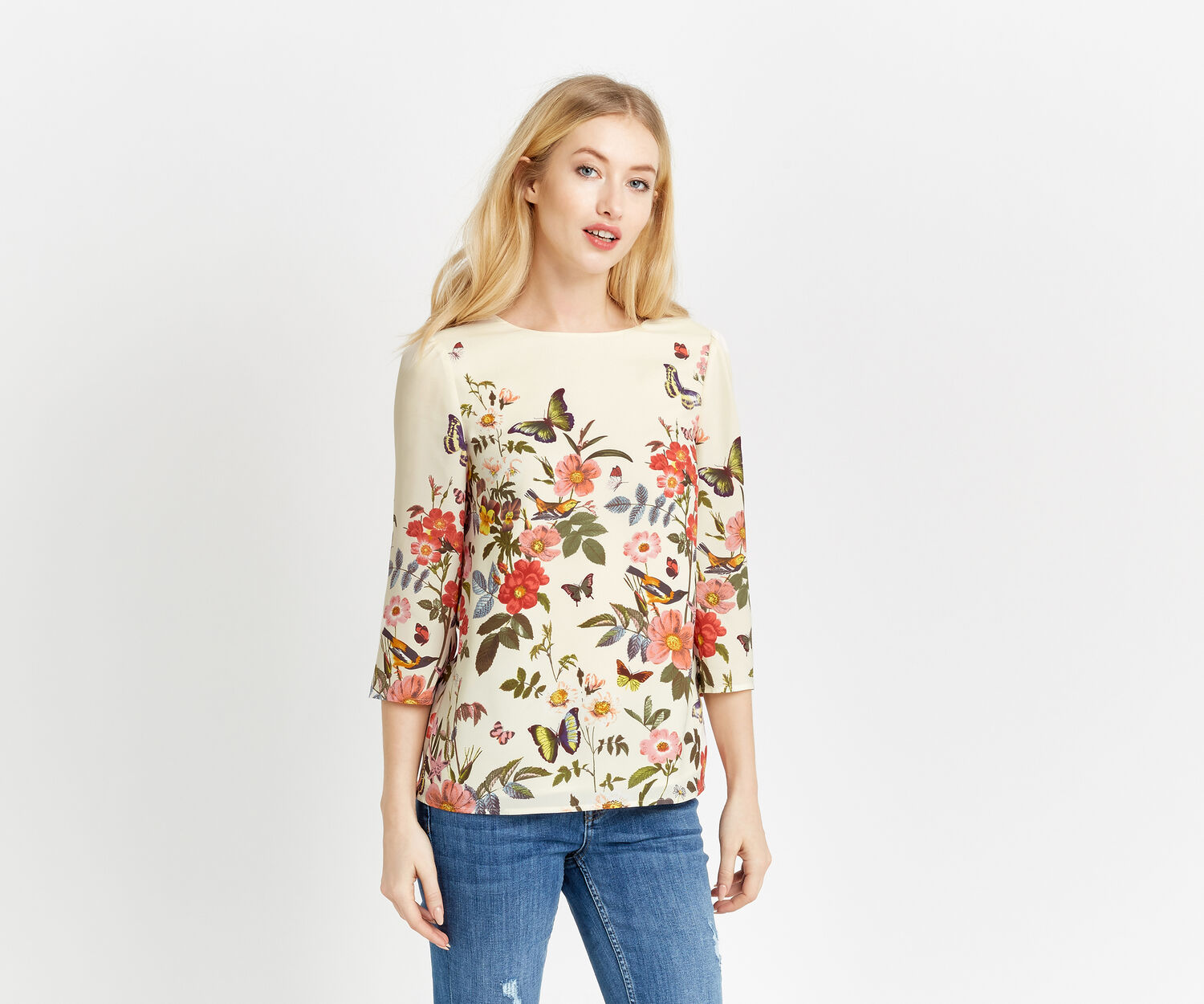 Oasis, AMELIA FLORAL PLACEMENT TOP Off White 1