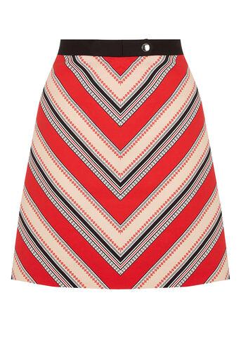 Oasis, Chevron Diamond Stripe Skirt Multi Red 0