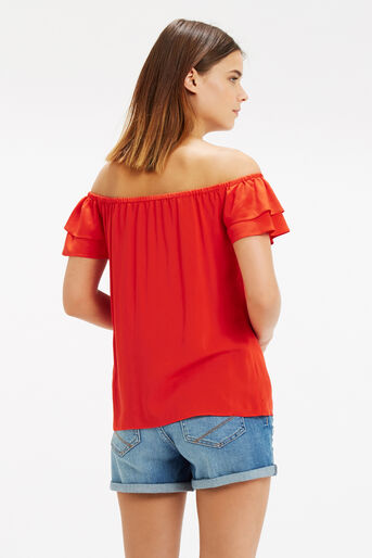 Oasis, Frill Bardot Top Mid Red 3