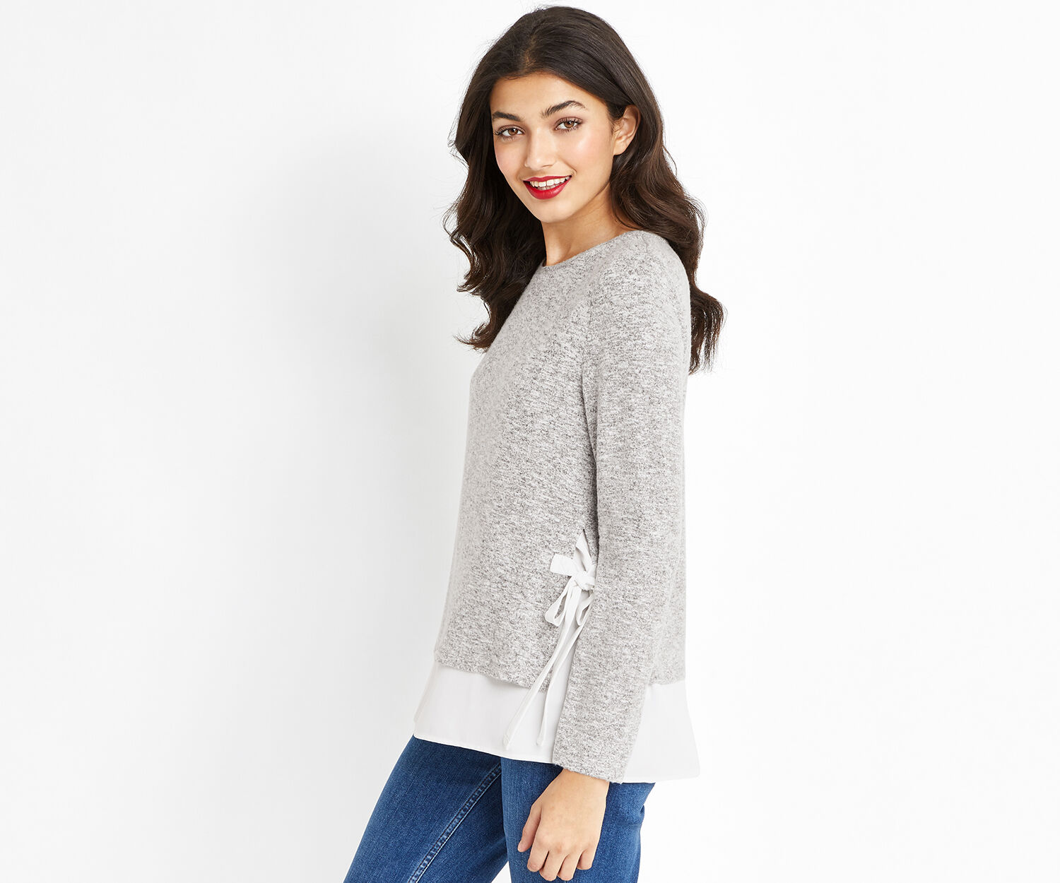 Oasis, TIE SIDE WOVEN MIX COSY TOP Mid Grey 1
