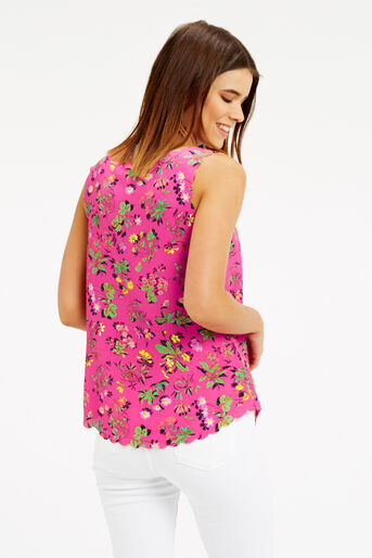 Oasis, Sophia Scallop Vest Multi Pink 3