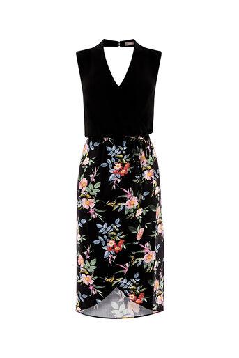 Oasis, VIOLET FLORAL 2 IN 1 DRESS Multi Black 0