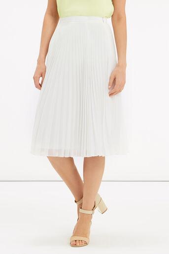 Oasis, Pleated Midi Skirt Off White 1