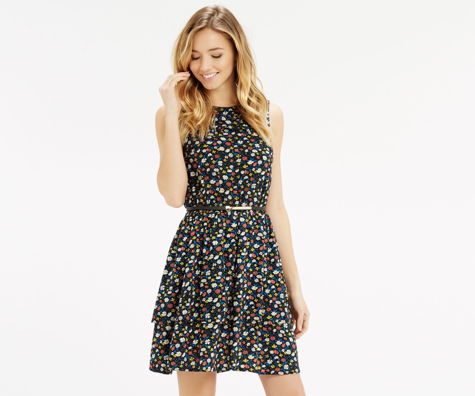 Oasis, Ditsy Ruffle Tiered Dress Multi 1
