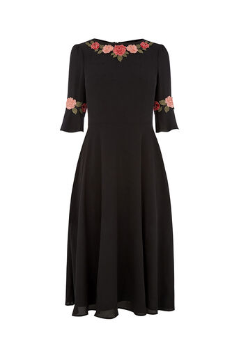 Oasis, FLUTED SLEEVE MIDI DRESS Black 0