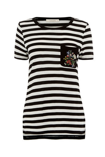 Oasis, EMBROIDERED POCKET STRIPE TEE Black and White 0