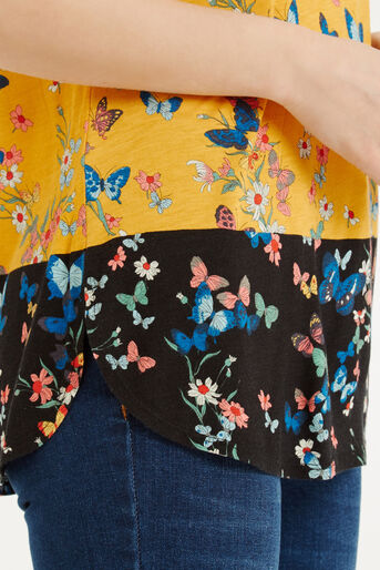 Oasis, Butterfly Printed T-Shirt Ochre 4