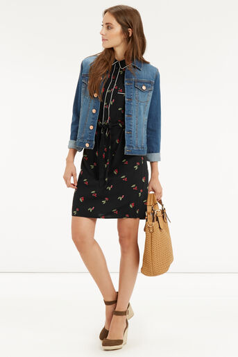 Oasis, CHERRY PIPED SHIRT DRESS Multi 2