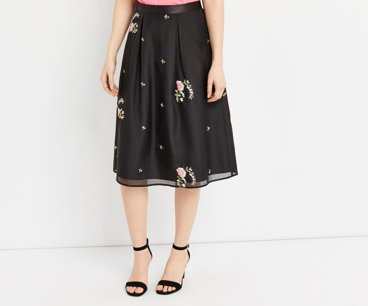 Oasis, EMBROIDERED SKIRT Pale Pink 1