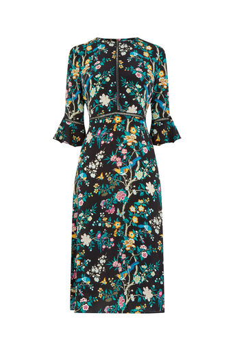 Oasis, V&A SILK DRESS Multi Black 0
