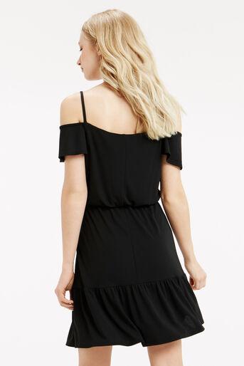 Oasis, Bardot Ruffle Hem Dress Black 3
