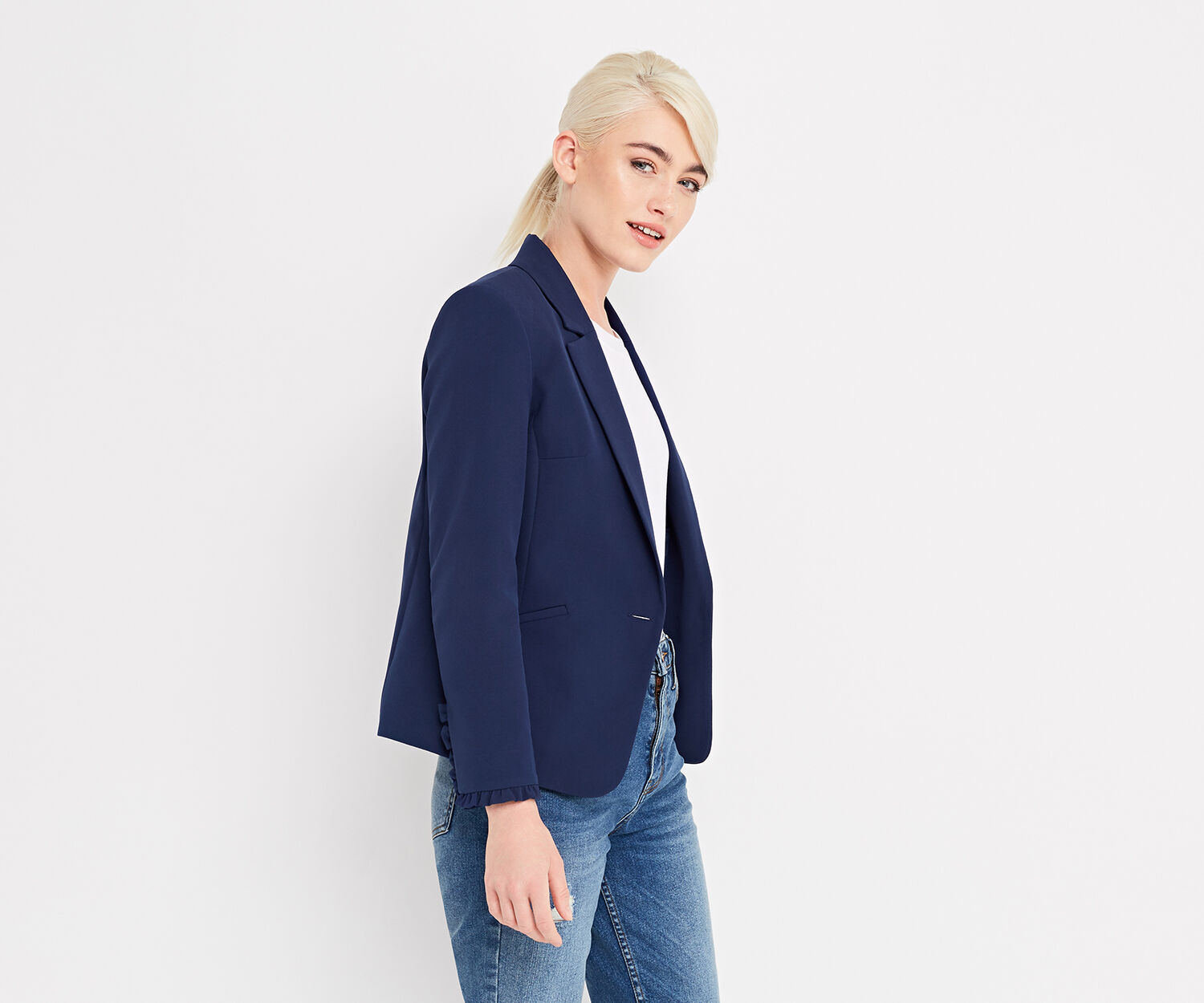 Oasis, FRILL DETAIL SMART JACKET Navy 1