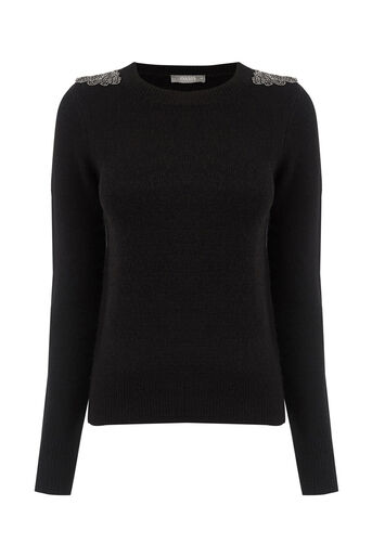 Oasis, Embellished perfect crew Black 0