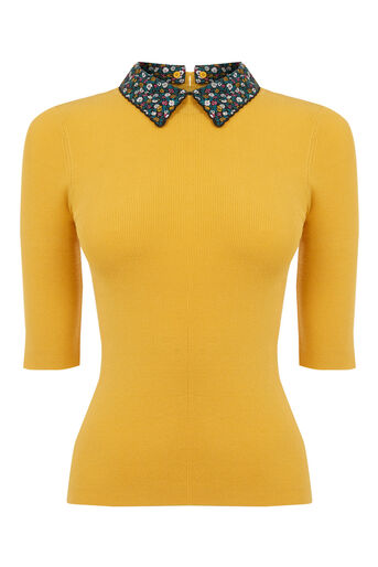 Oasis, Ditsy rib collar knit Ochre 0
