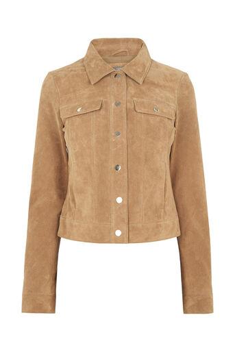Oasis, Suede Harrington Jacket Tan 0