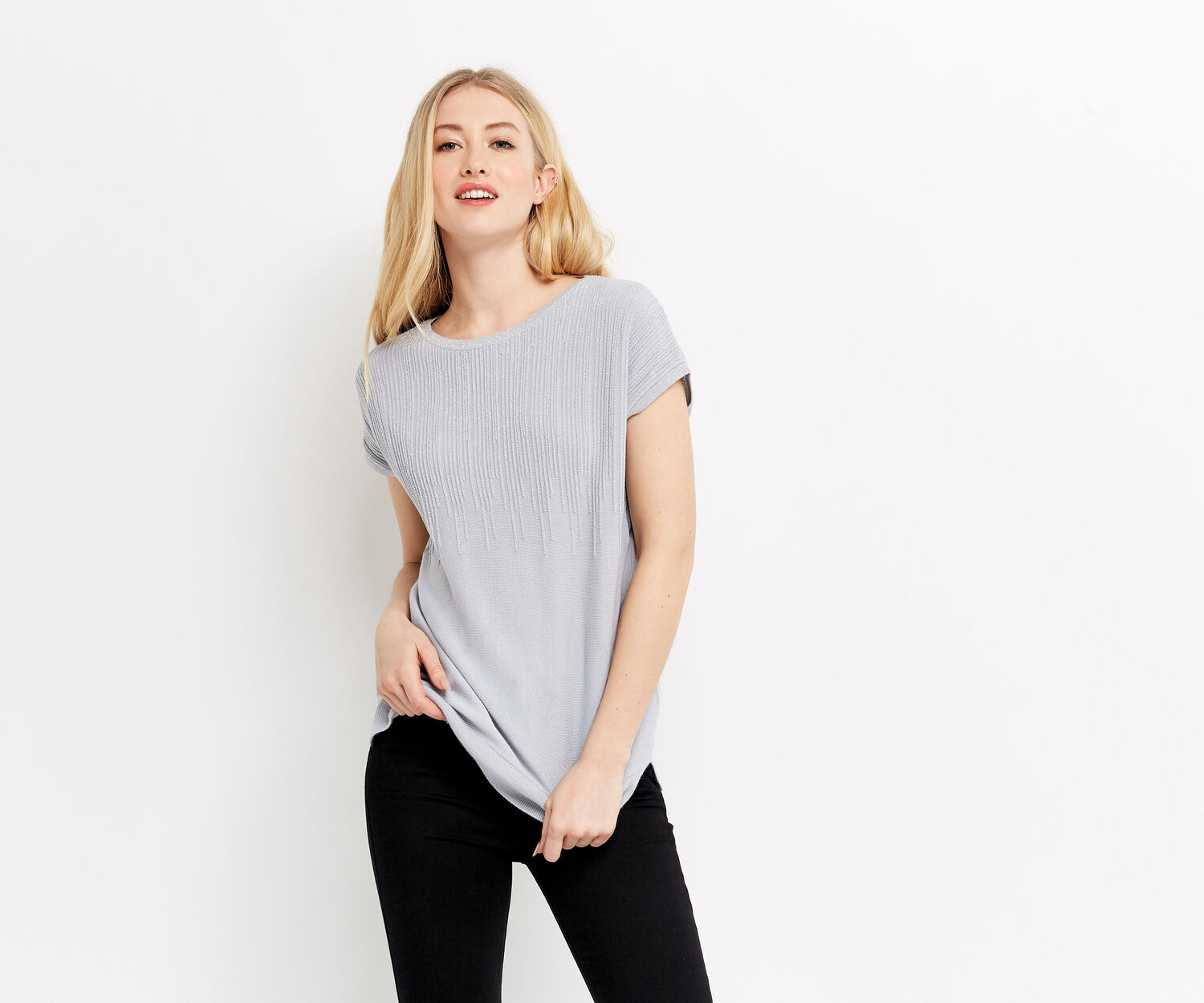 Oasis, Ombre sparkle tee Mid Grey 1
