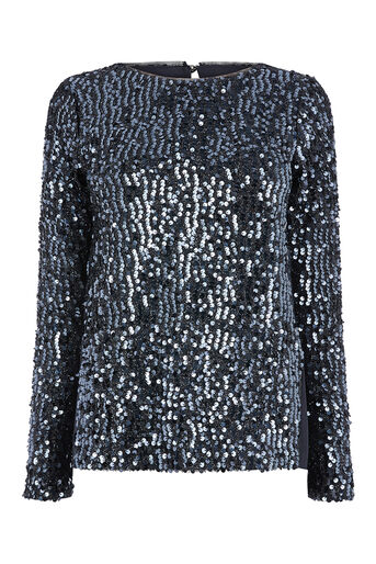 Oasis, SEQUIN TINSEL SWEAT Metallic Pewter 0