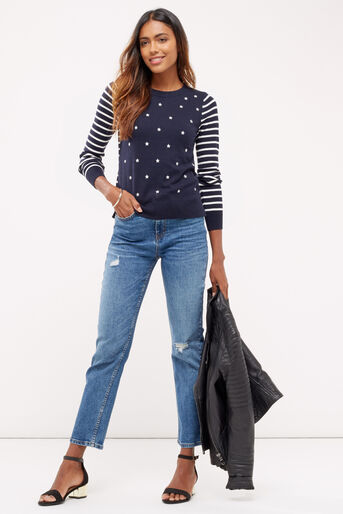 Oasis, EMBROIDERED STAR KNIT Multi Blue 2